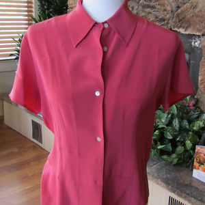 Casual Corner Silk Career Pink Blouse SZ 8